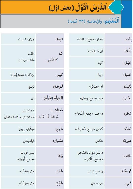 جواب صفحه 11 عربی هفتم