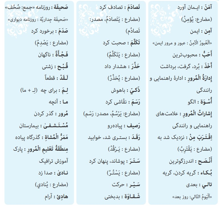 ترجمه صفحه 16 عربی نهم