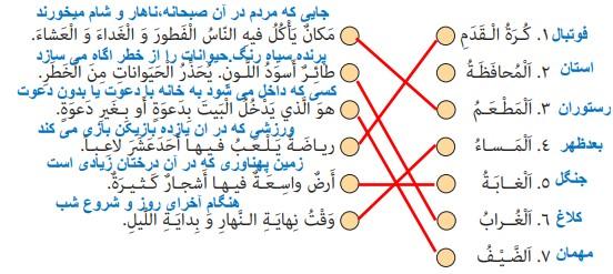 جواب تمرین صفحه 18 عربی نهم