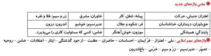 معنی کلمات درس 6 فارسی پنجم