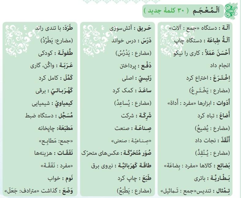 ترجمه صفحه 72 عربی نهم