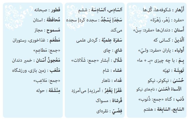 کلمات درس نهم عربی هشتم