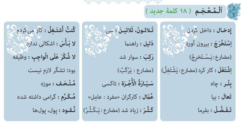 معنی کلمات درس هشتم عربی نهم
