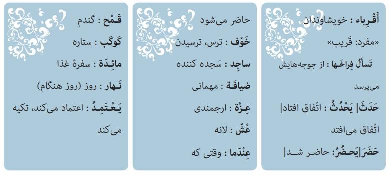 معنی درس هشتم عربی هشتم