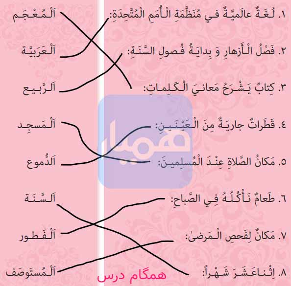 جواب تمرین صفحه 116 عربی هشتم