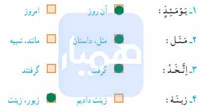 جواب تمرین صفحه ۷۲ قرآن پنجم